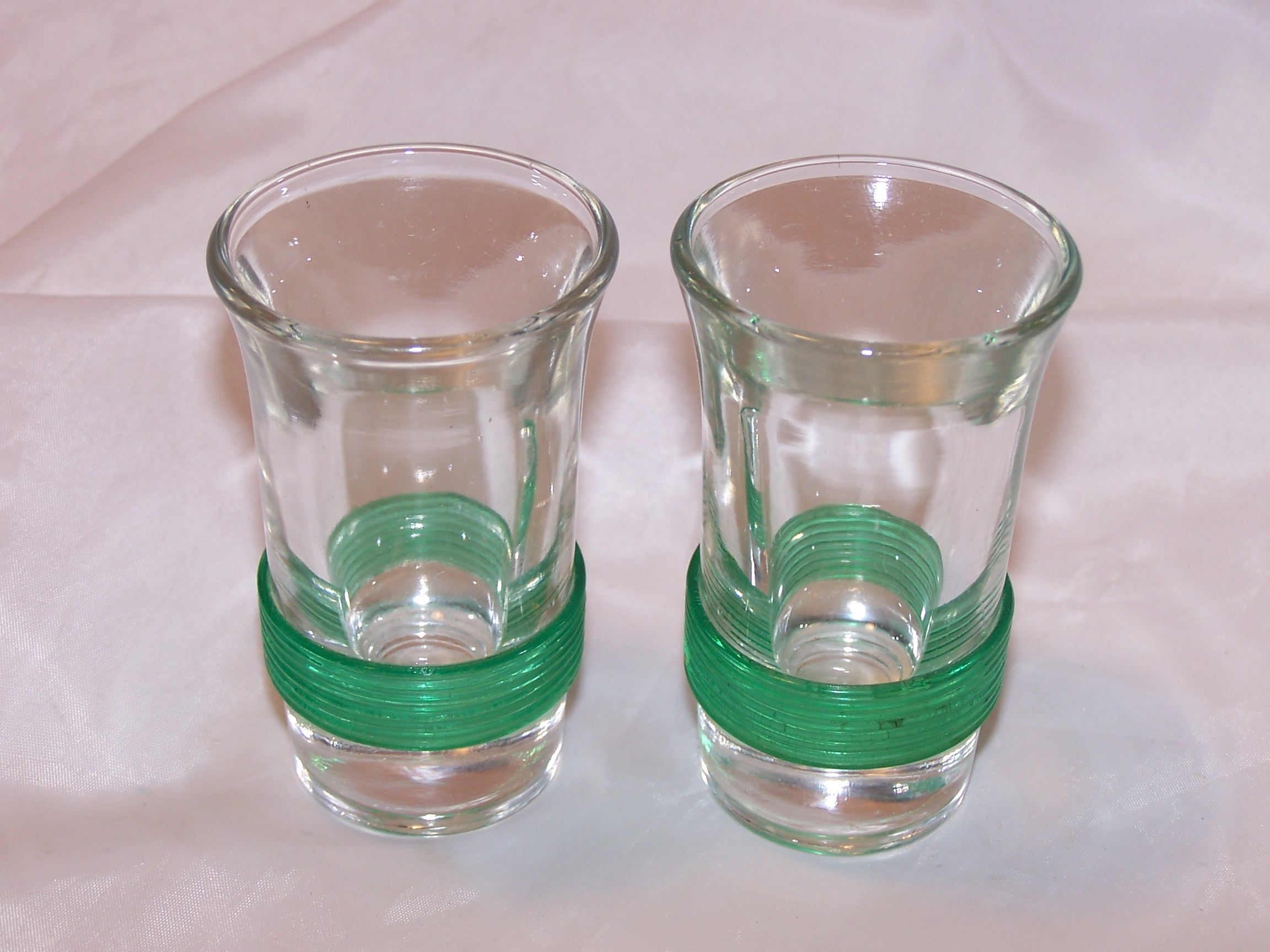 Green Wrapped Shot Glasses, Set of Two, Vintage