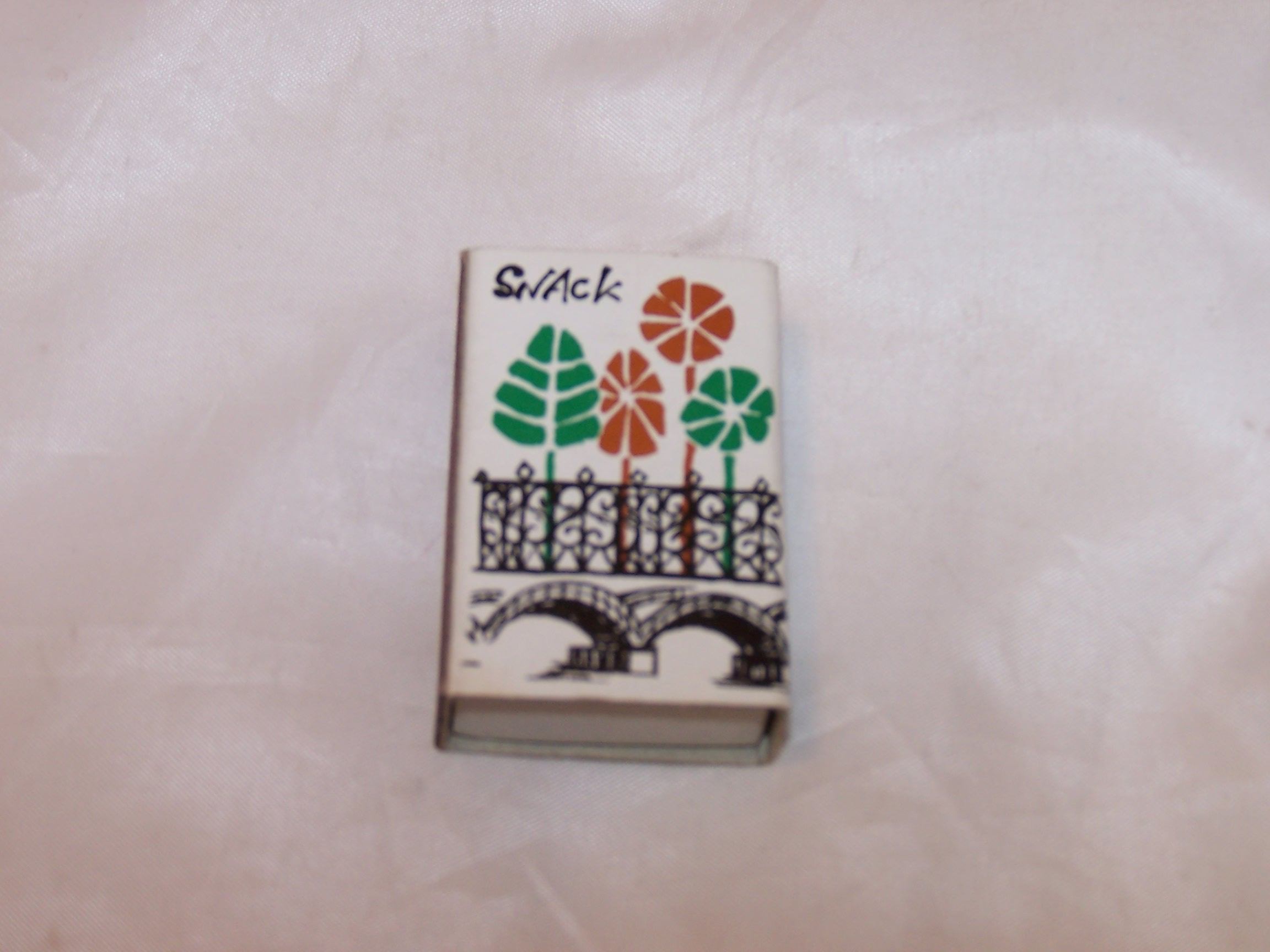 SNACK Japanese Matchbox w Trees on Ornate Arched Bridge