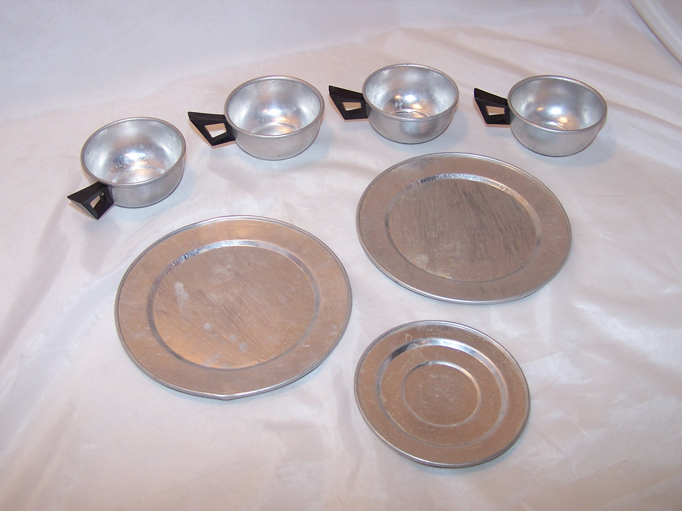 Image 1 of Toy Cups, Saucer, Plates, Aluminum, Vintage Childs Toy