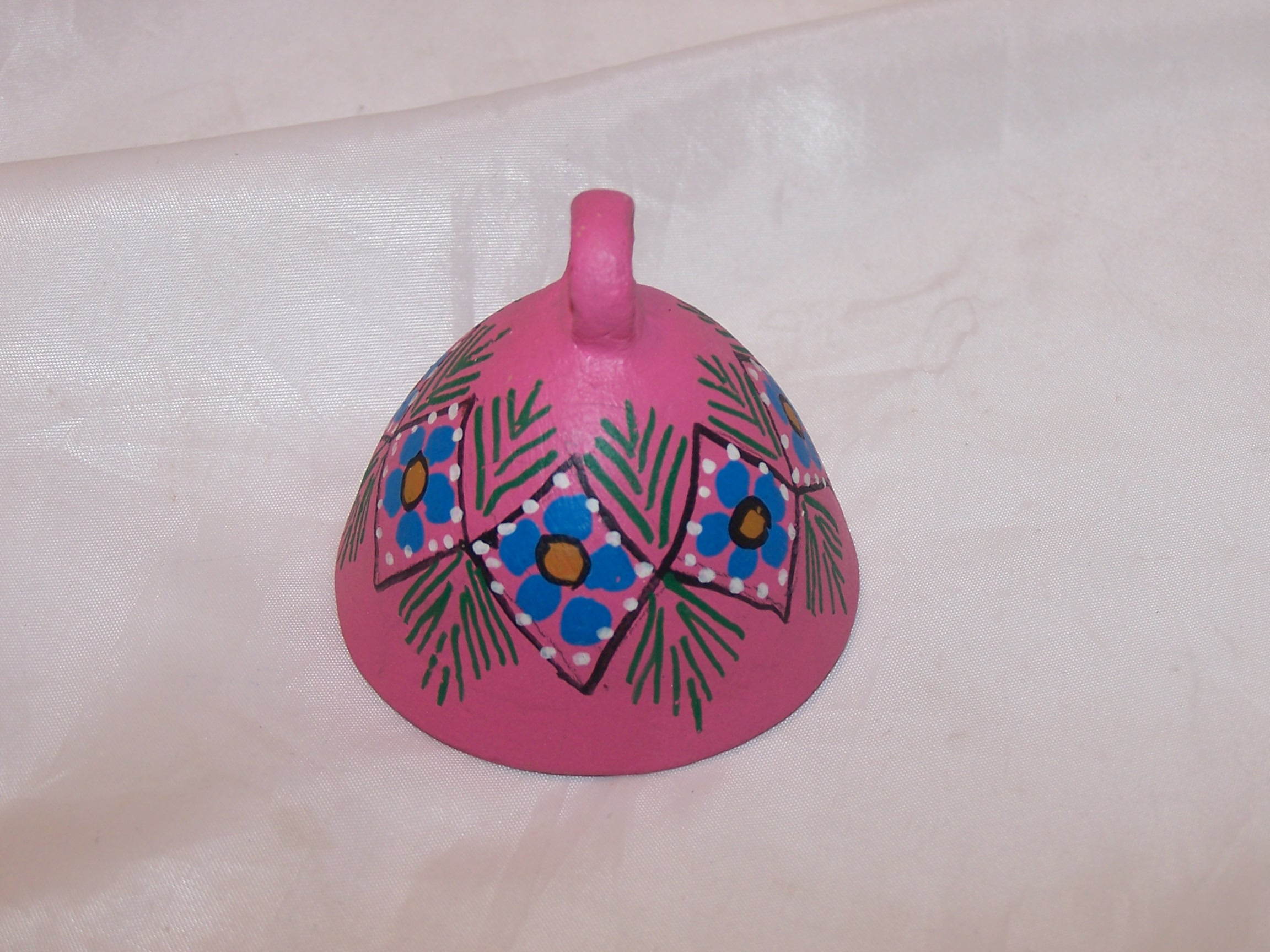 Image 1 of Floral Clay Bell, Oaxaca, Mexico, Hand Crafted, Painted