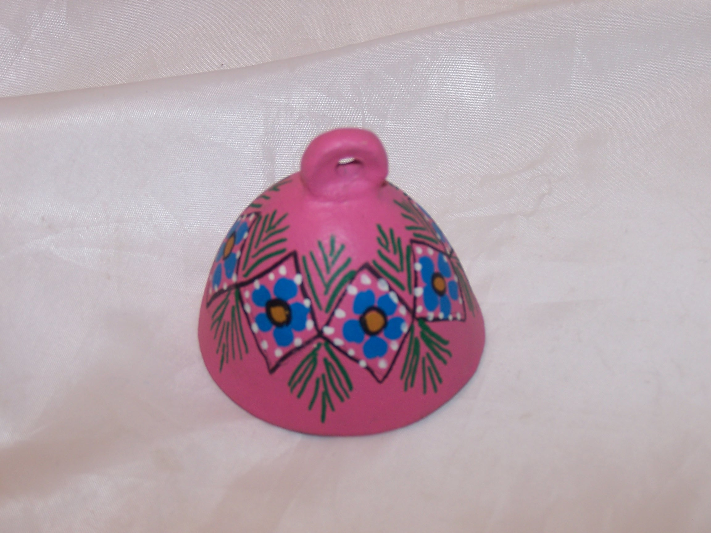 Image 2 of Floral Clay Bell, Oaxaca, Mexico, Hand Crafted, Painted