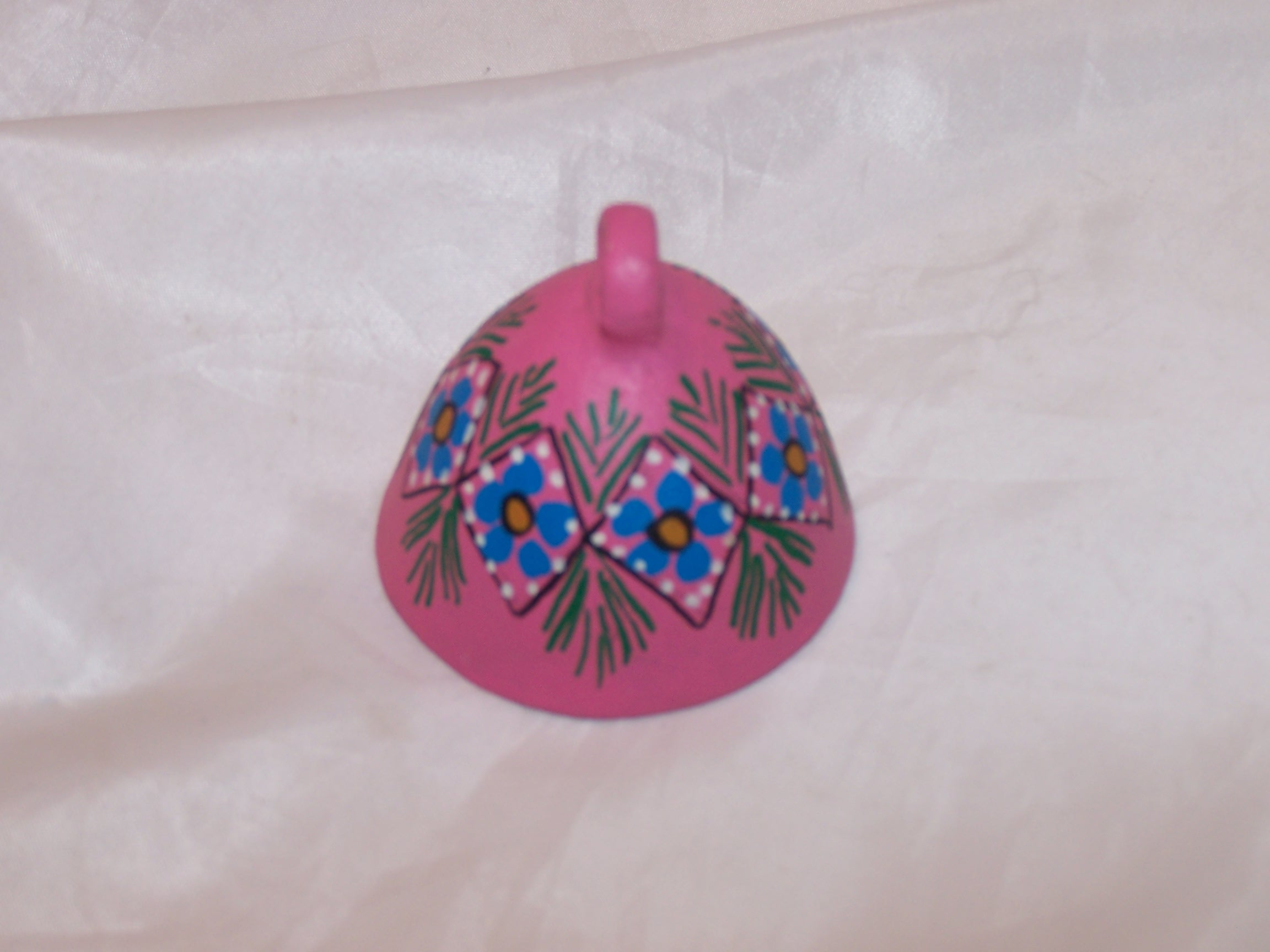 Image 3 of Floral Clay Bell, Oaxaca, Mexico, Hand Crafted, Painted