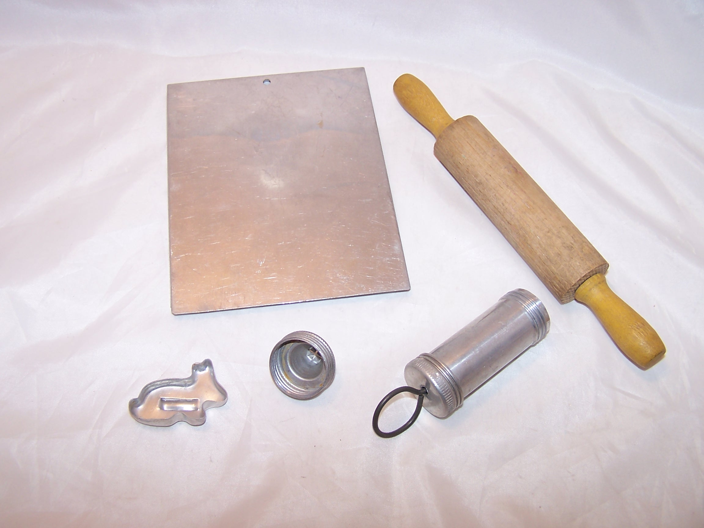 Image 2 of Toy Cookie Baking Set w Bunny Cutter, Vintage, Aluminum