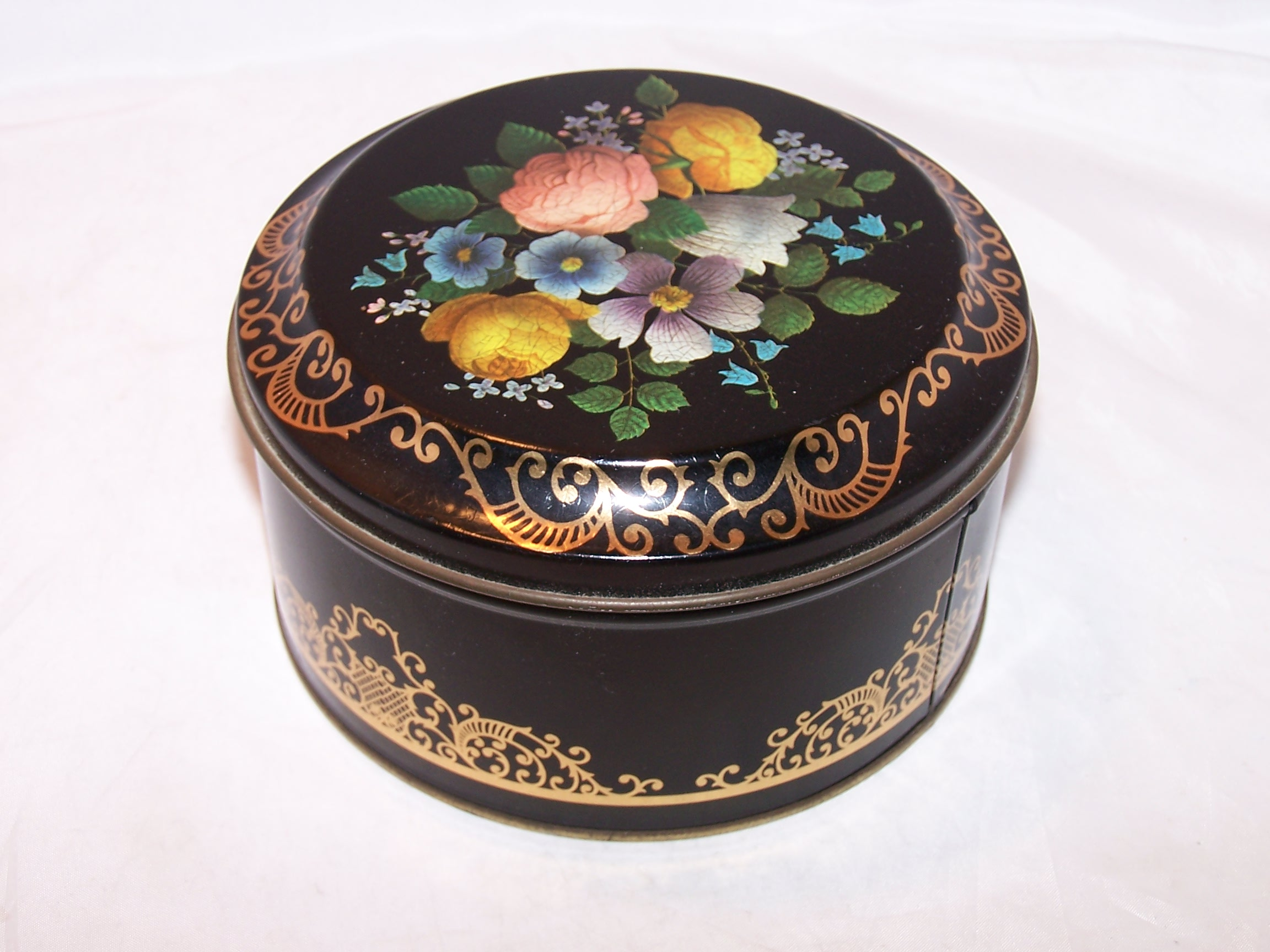Image 1 of Flowers, Gold Scrollwork Tin Box, England