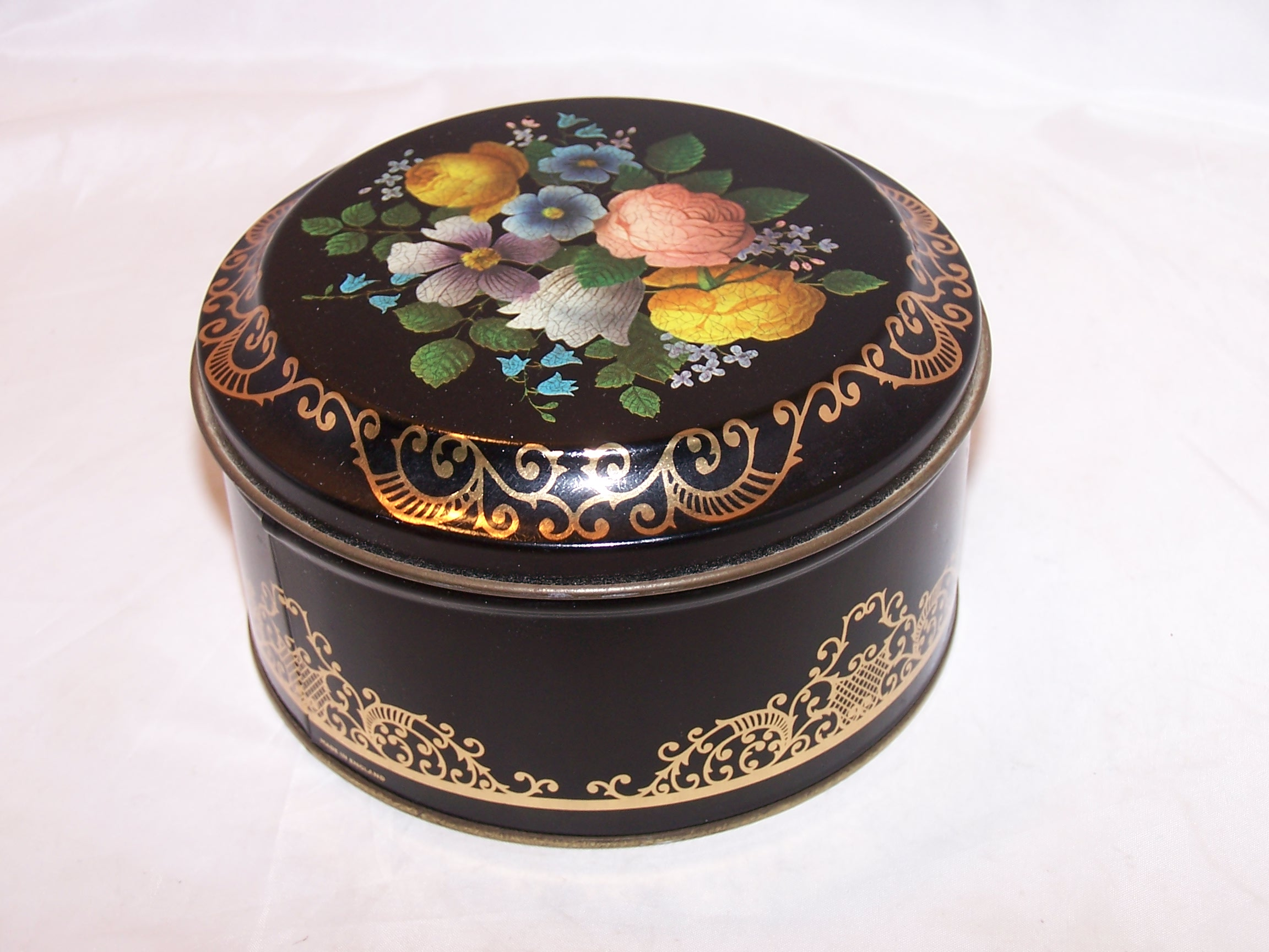Image 2 of Flowers, Gold Scrollwork Tin Box, England