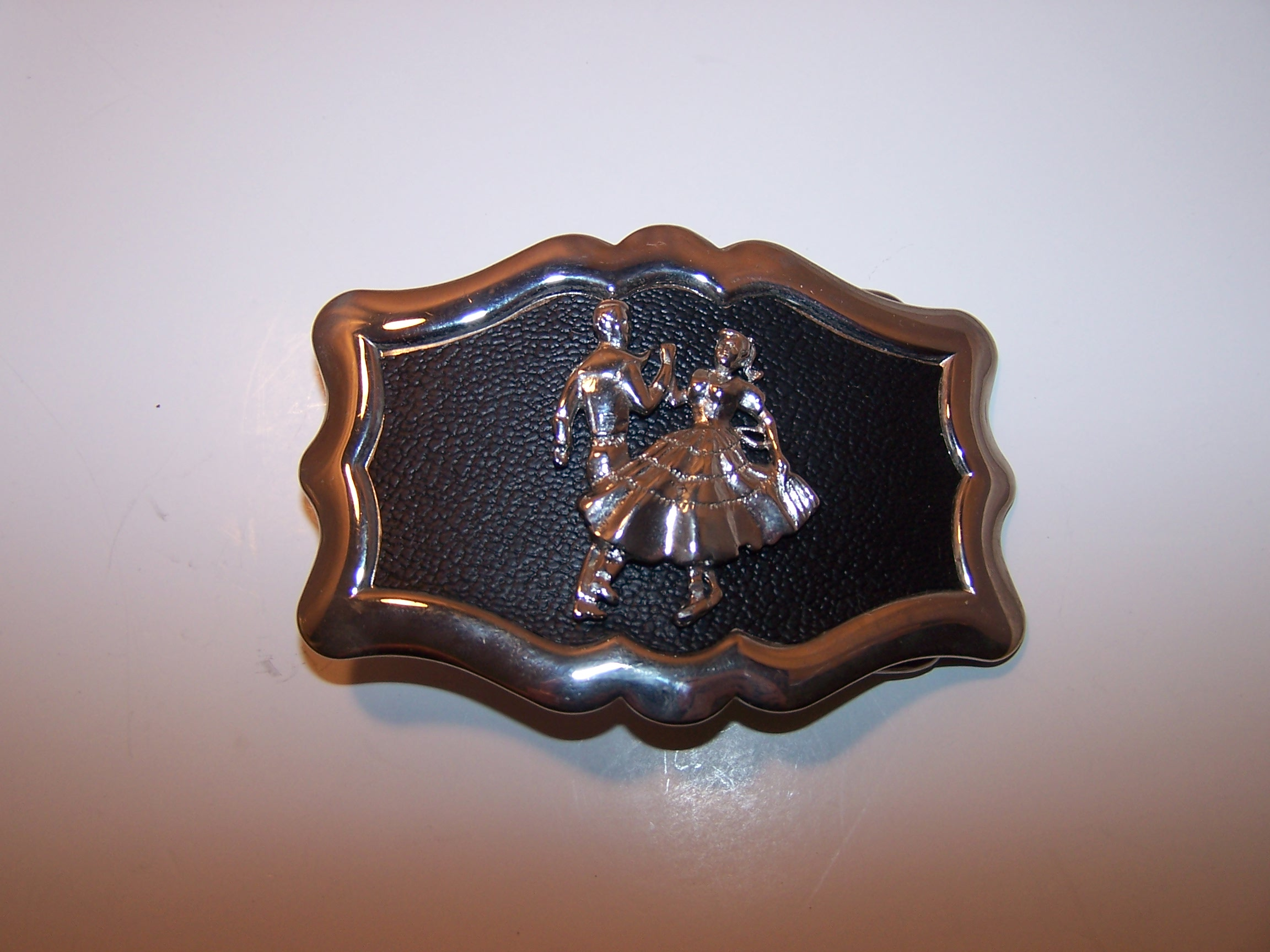 Square Dance Belt Buckle, Silver and Black, USA