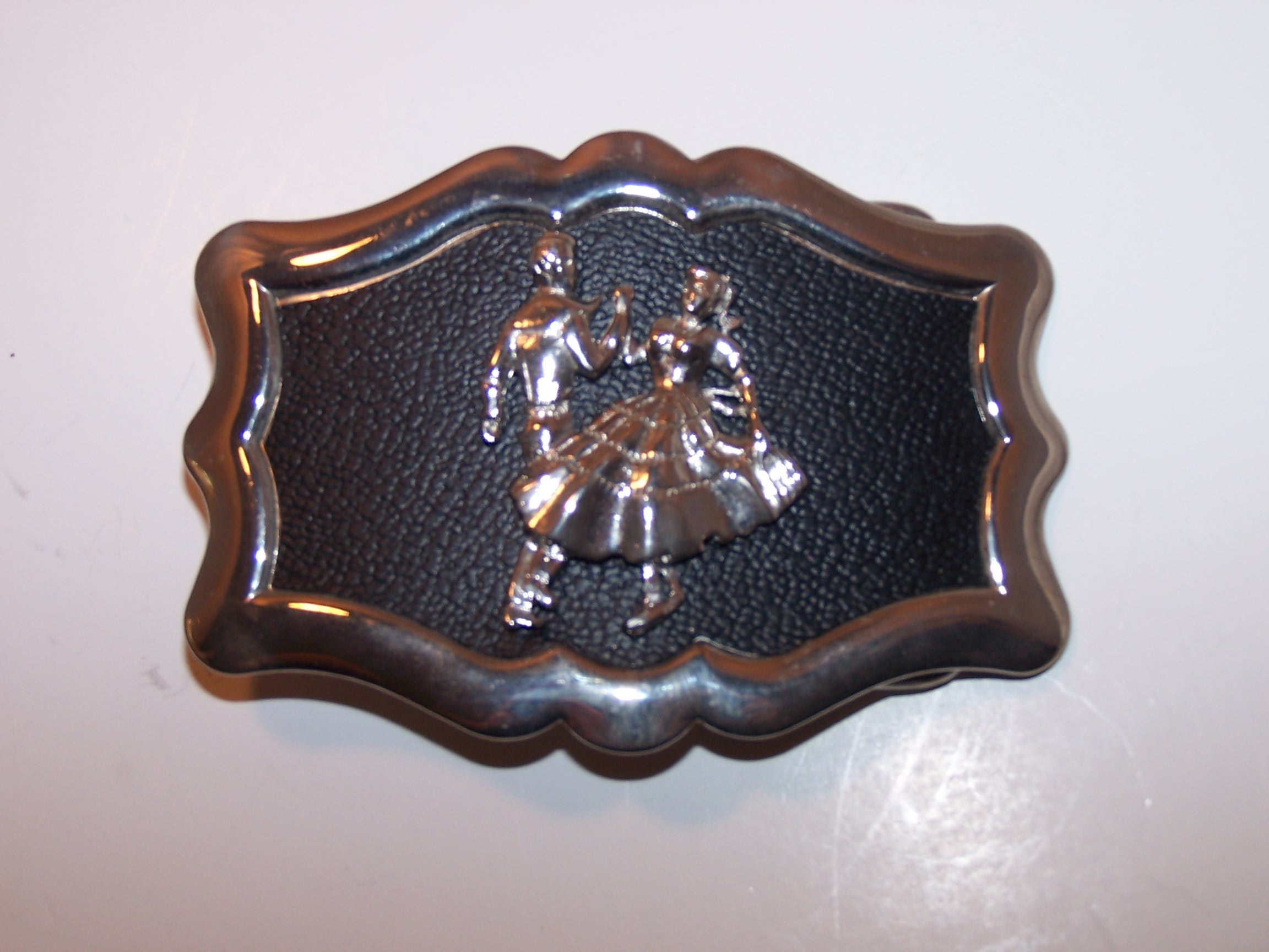 Image 1 of Square Dance Belt Buckle, Silver and Black, USA