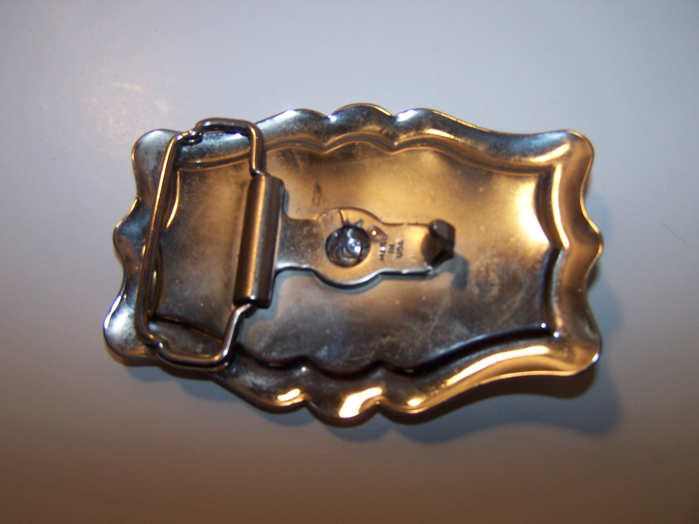 Image 3 of Square Dance Belt Buckle, Silver and Black, USA