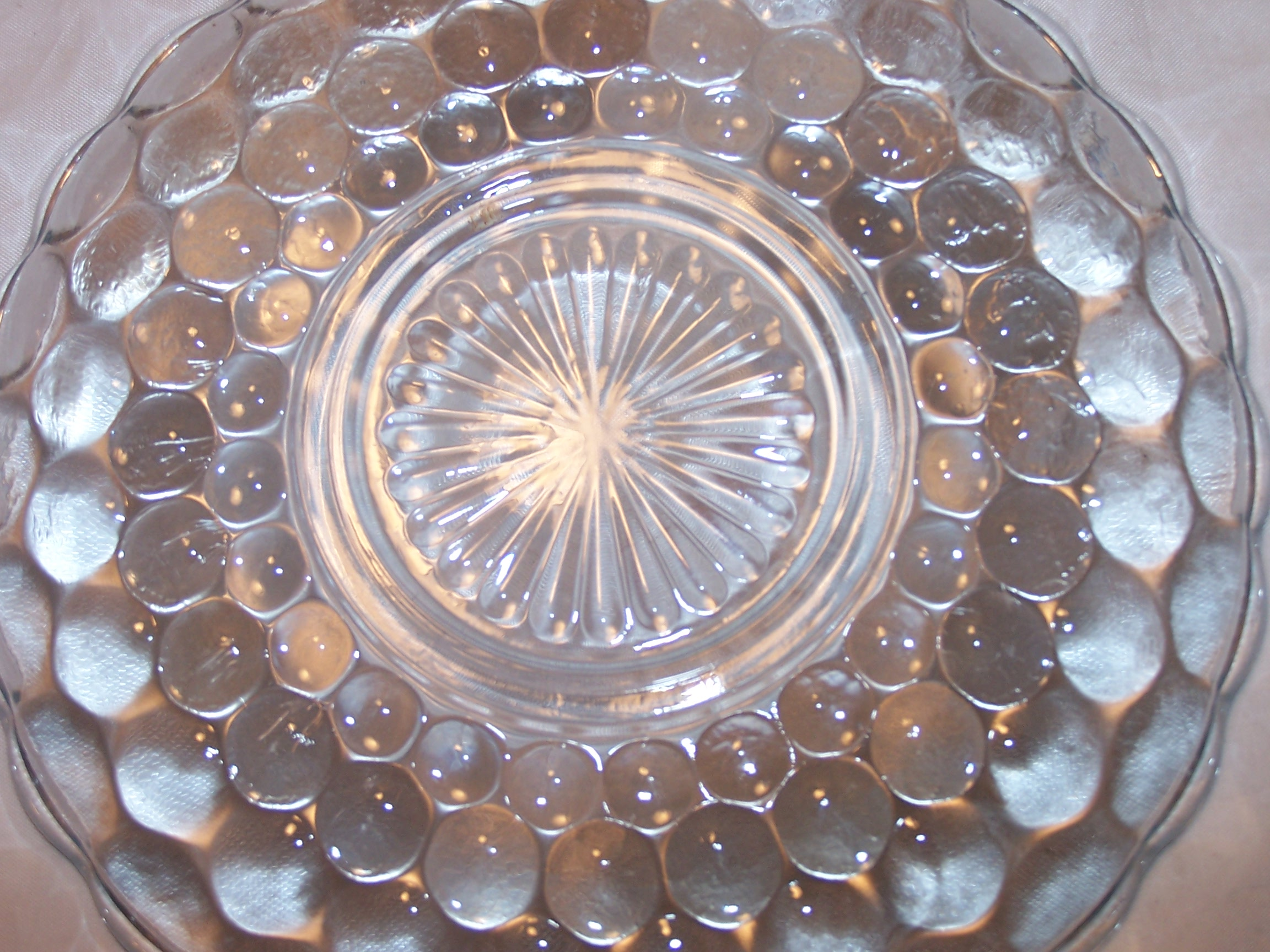 Hobnail Glass Teacup, Saucer Service for 10, Vintage