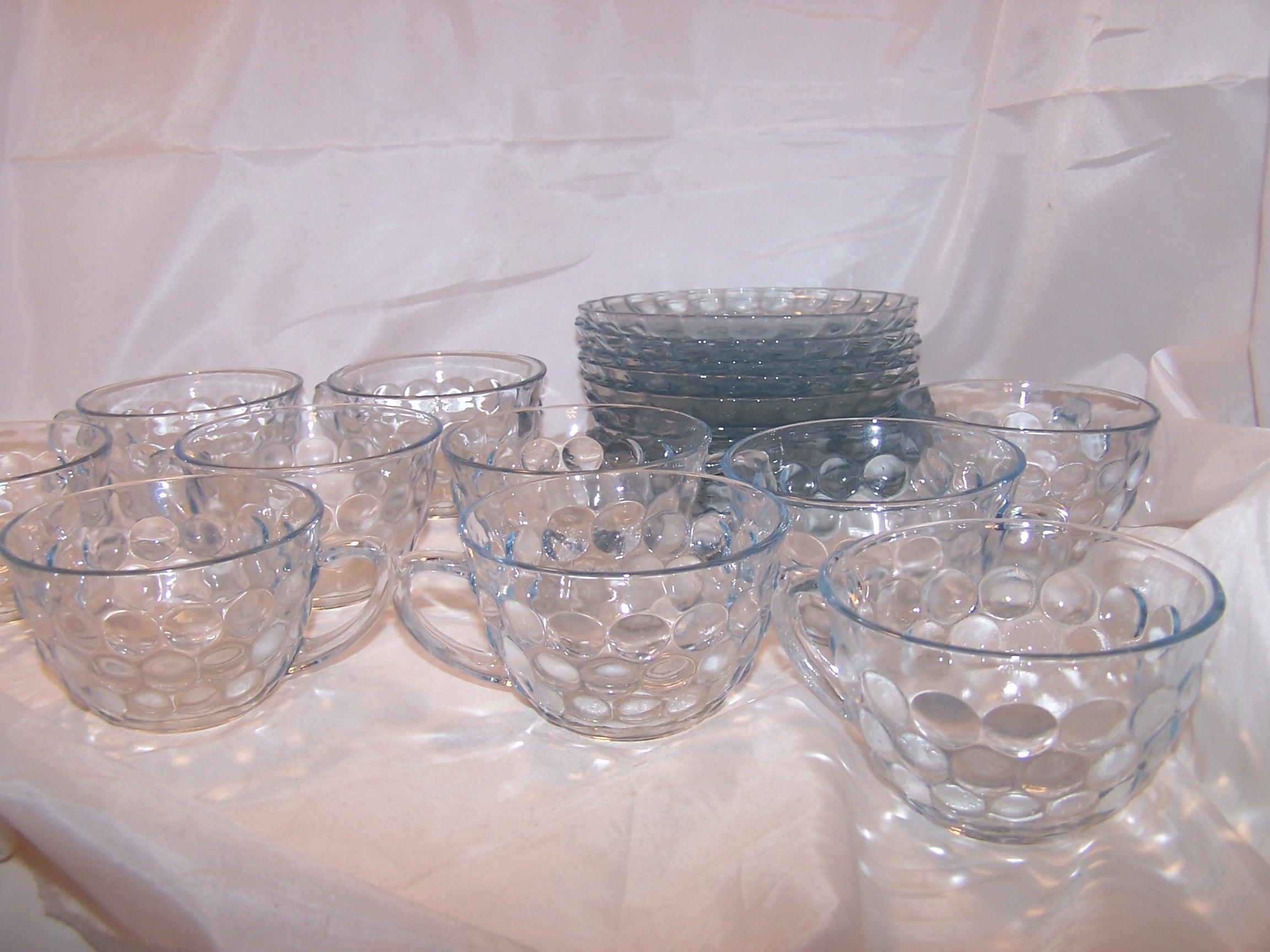 Image 3 of Hobnail Glass Teacup, Saucer Service for 10, Vintage