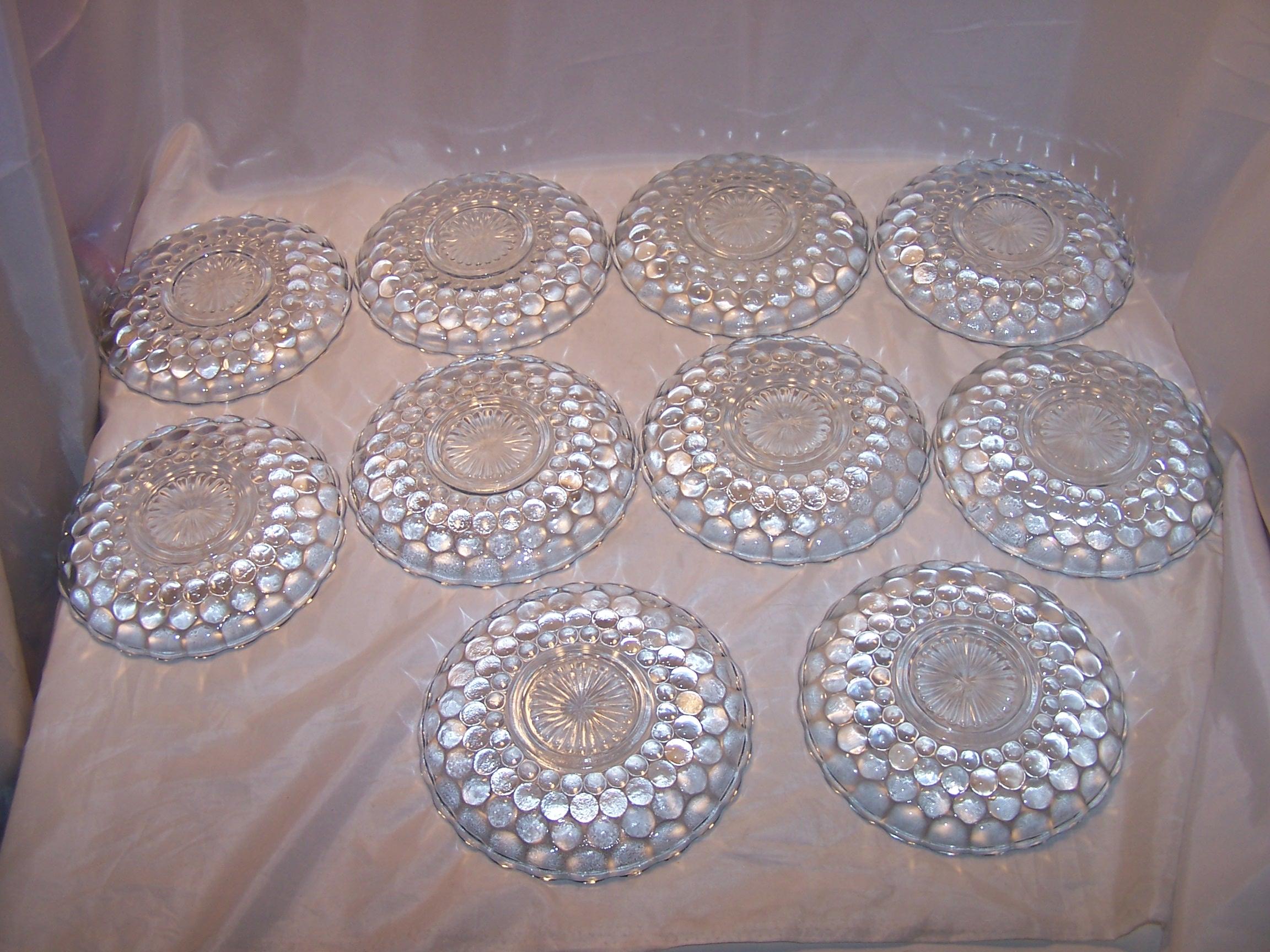 Image 2 of Hobnail Glass Teacup, Saucer Service for 10, Vintage