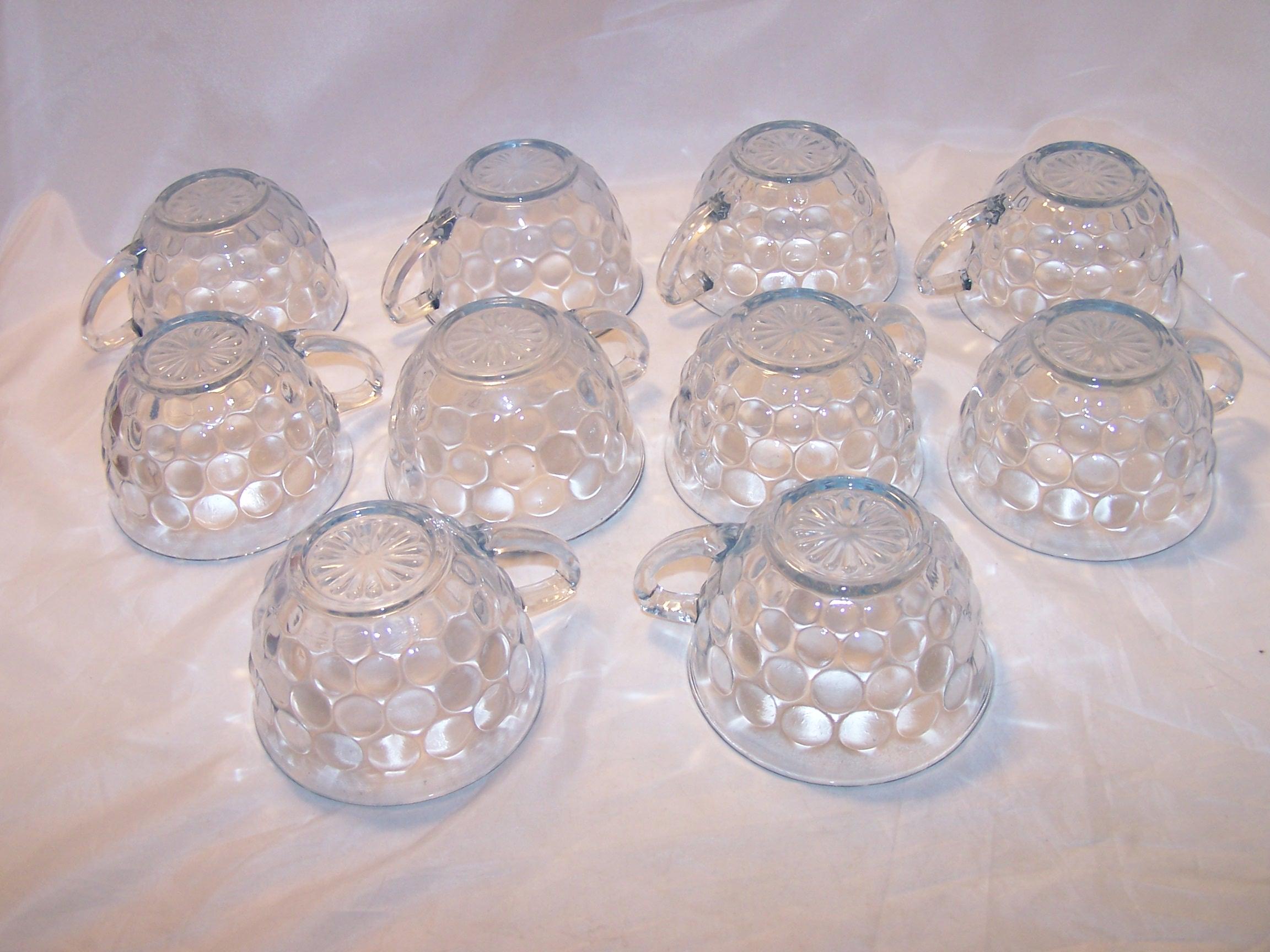 Image 4 of Hobnail Glass Teacup, Saucer Service for 10, Vintage