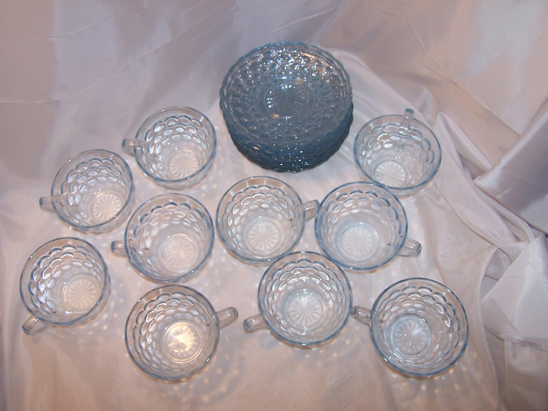 Image 6 of Hobnail Glass Teacup, Saucer Service for 10, Vintage
