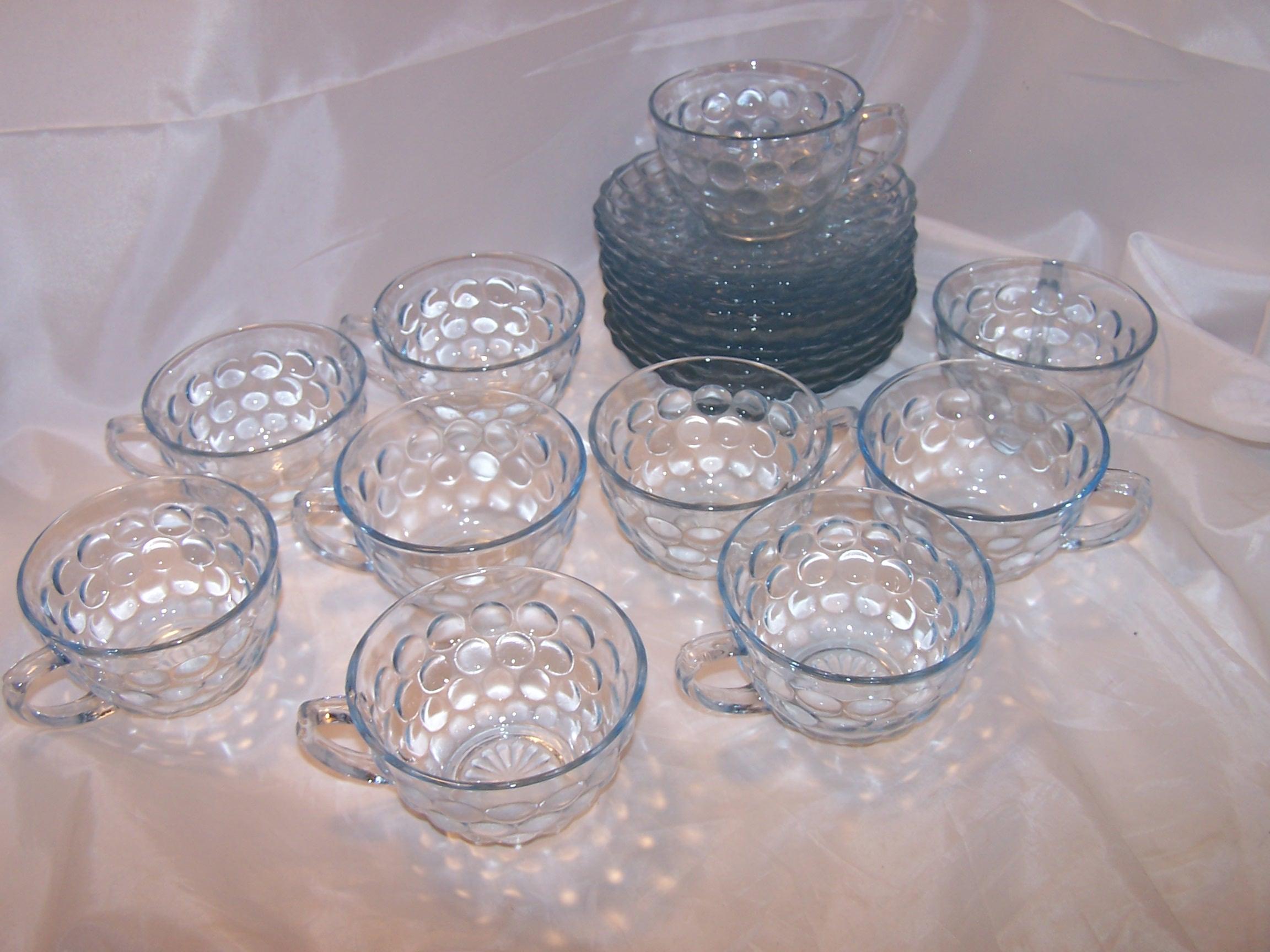 Image 7 of Hobnail Glass Teacup, Saucer Service for 10, Vintage