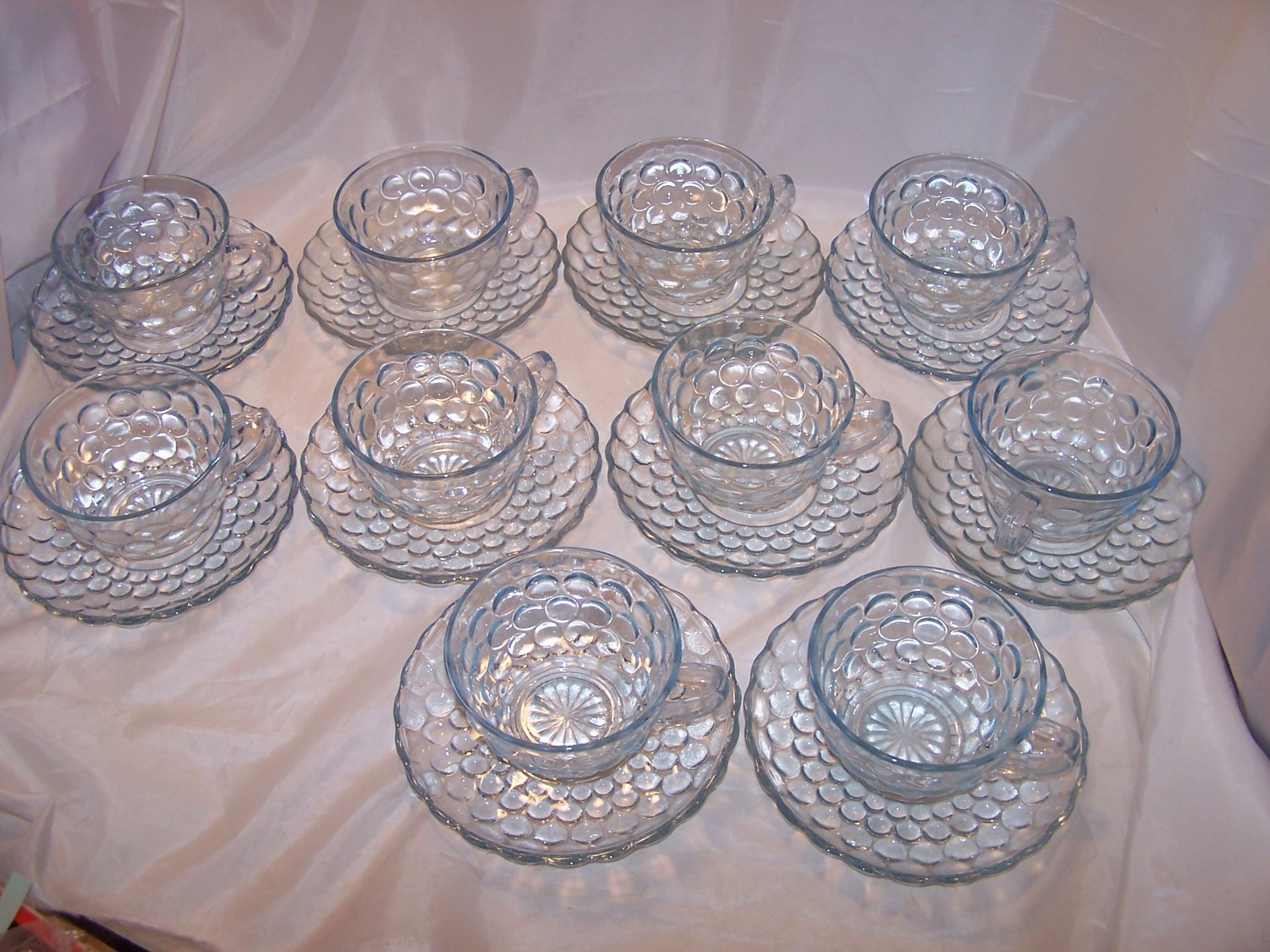 Image 8 of Hobnail Glass Teacup, Saucer Service for 10, Vintage