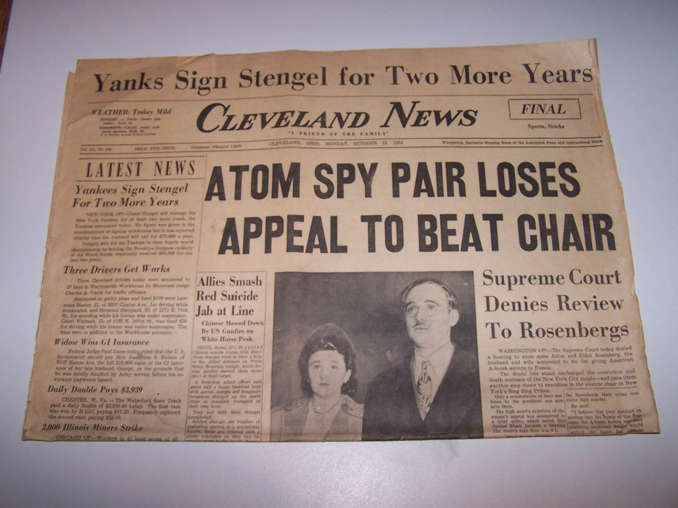 Rosenberg Spies Lose Appeal, 1952, Cleveland News Newspaper