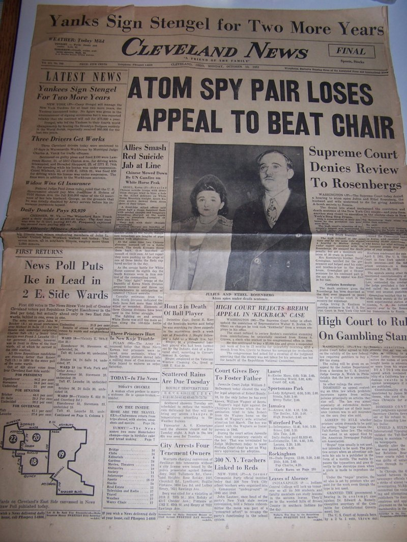 Image 1 of Rosenberg Spies Lose Appeal, 1952, Cleveland News Newspaper