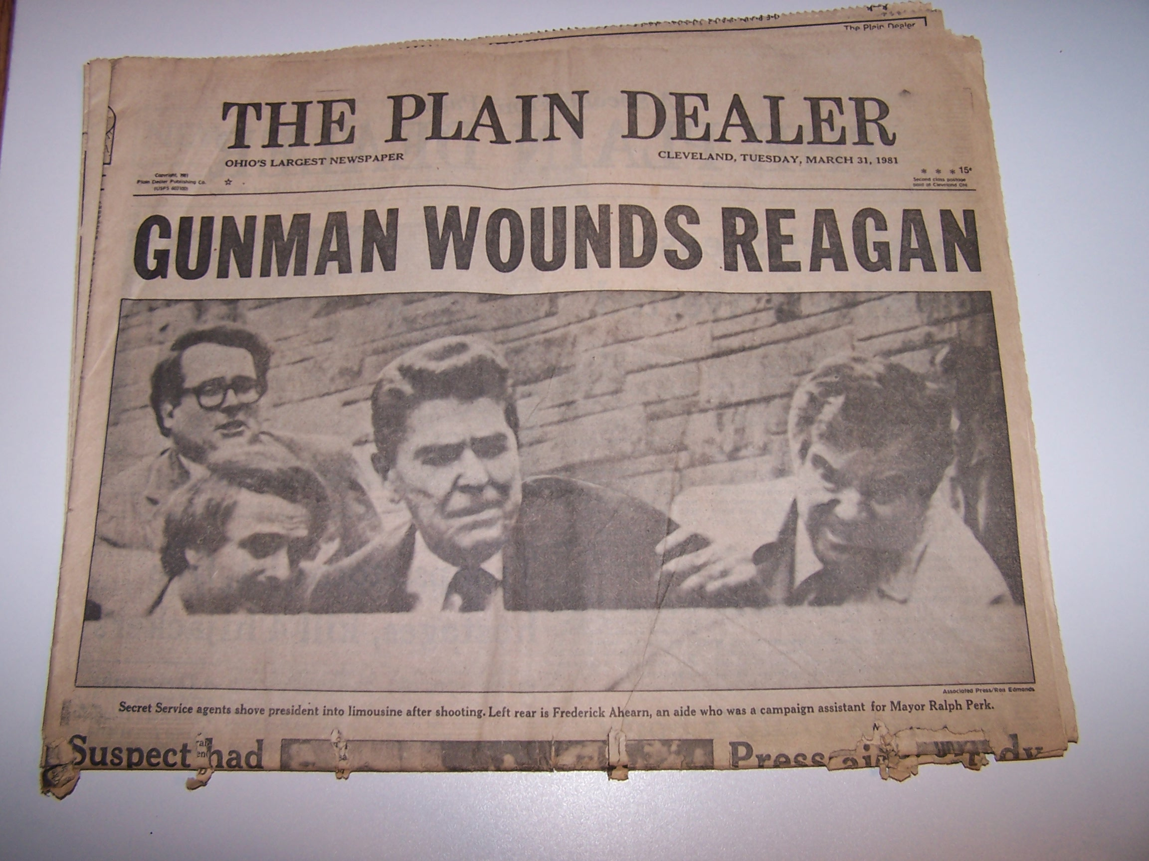 Gunman Wounds Reagan, 1981, Cleveland Plain Dealer