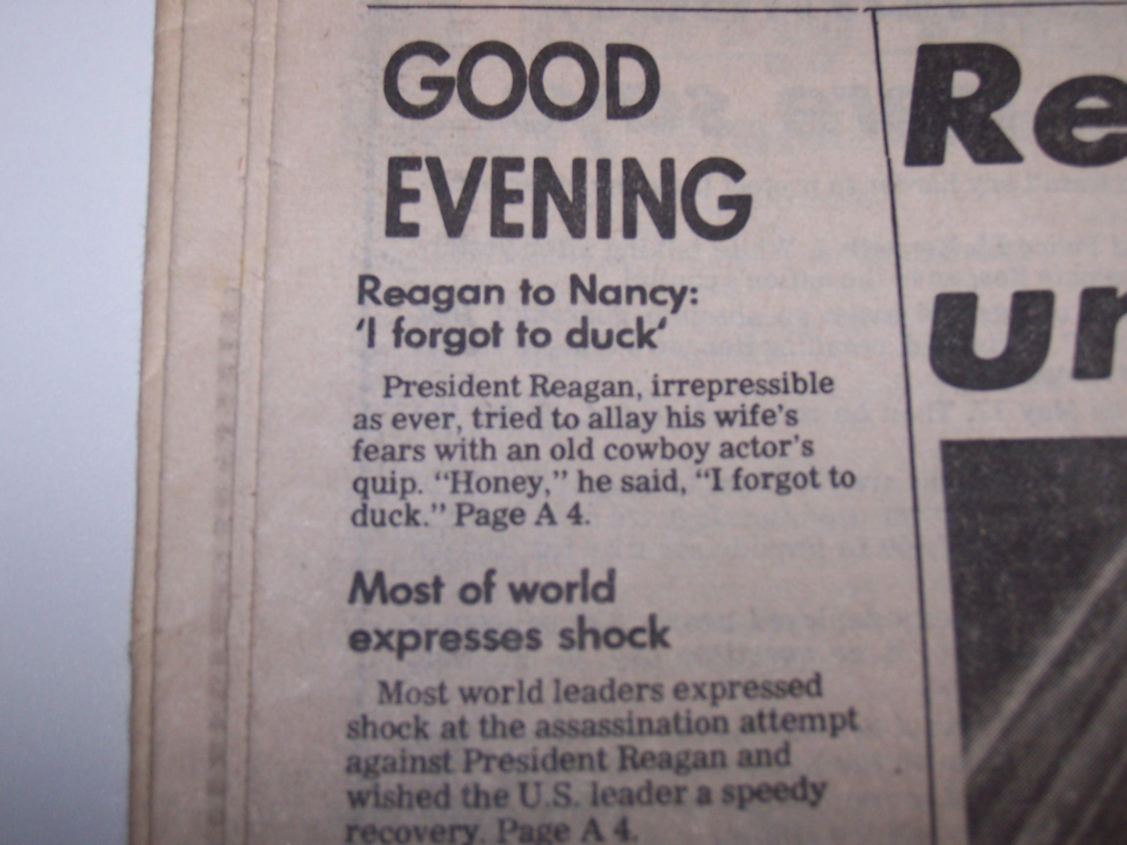 '.Reagan Joked Through Night.'