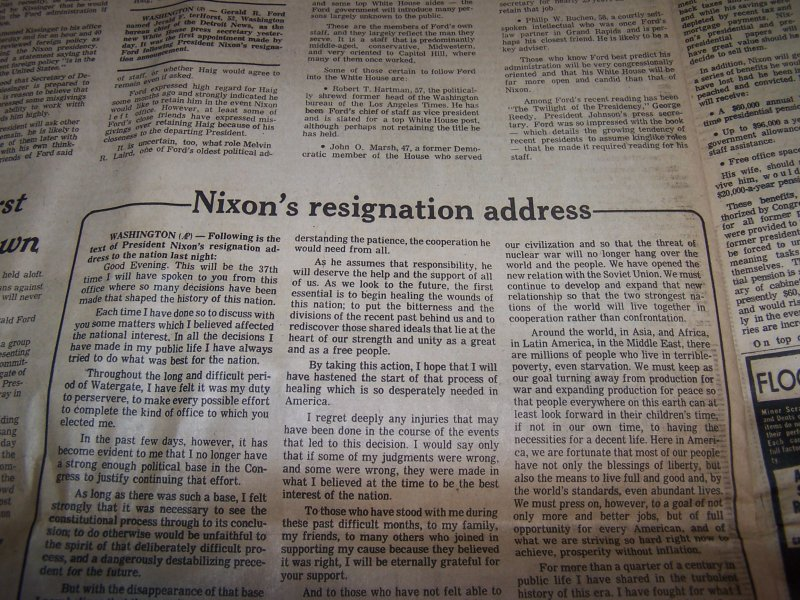 Image 9 of Nixon Resigns, Ford Takes Oath, 1974 Cleveland Plain Dealer