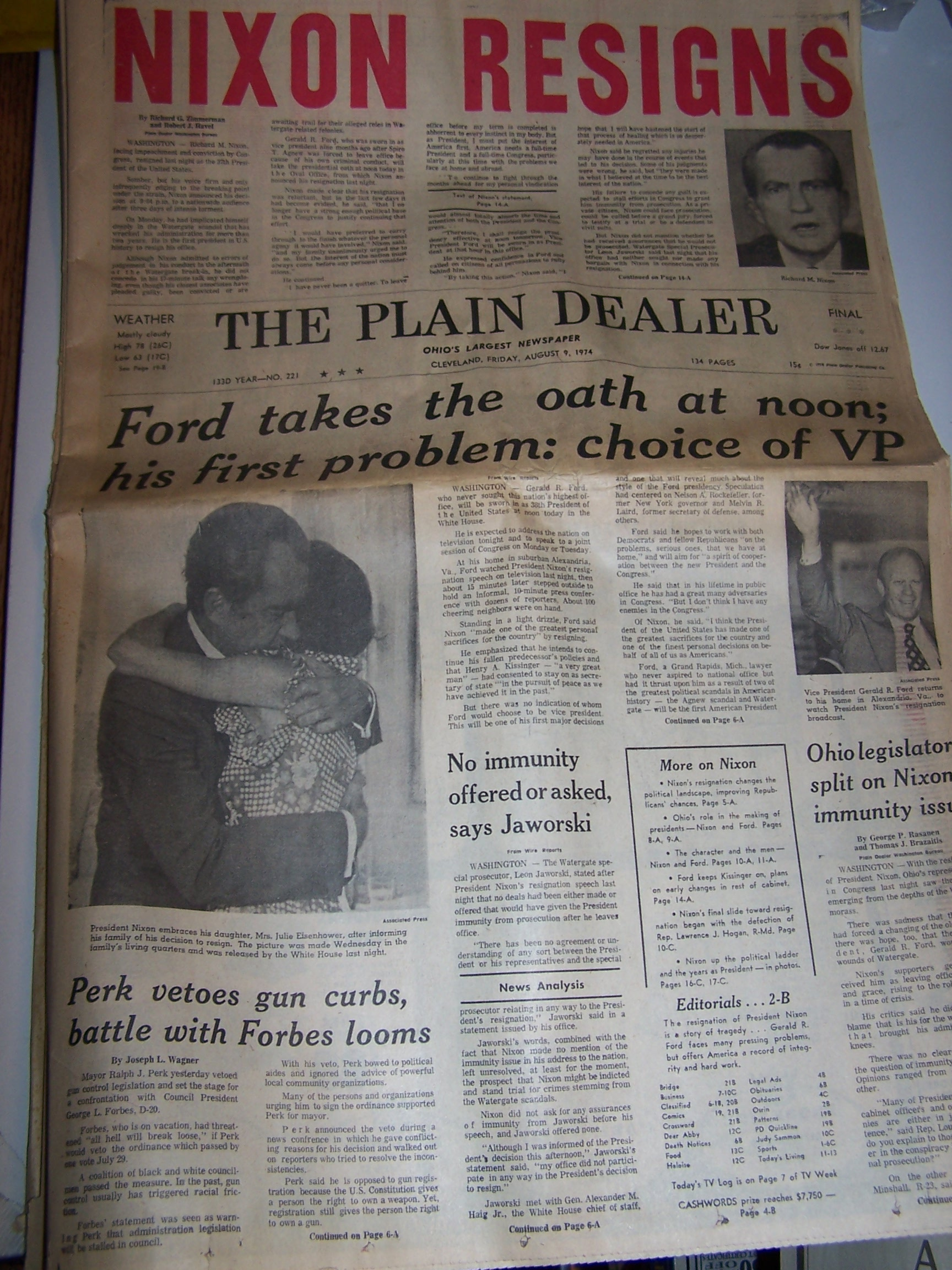 Image 1 of Nixon Resigns, Ford Takes Oath, 1974 Cleveland Plain Dealer