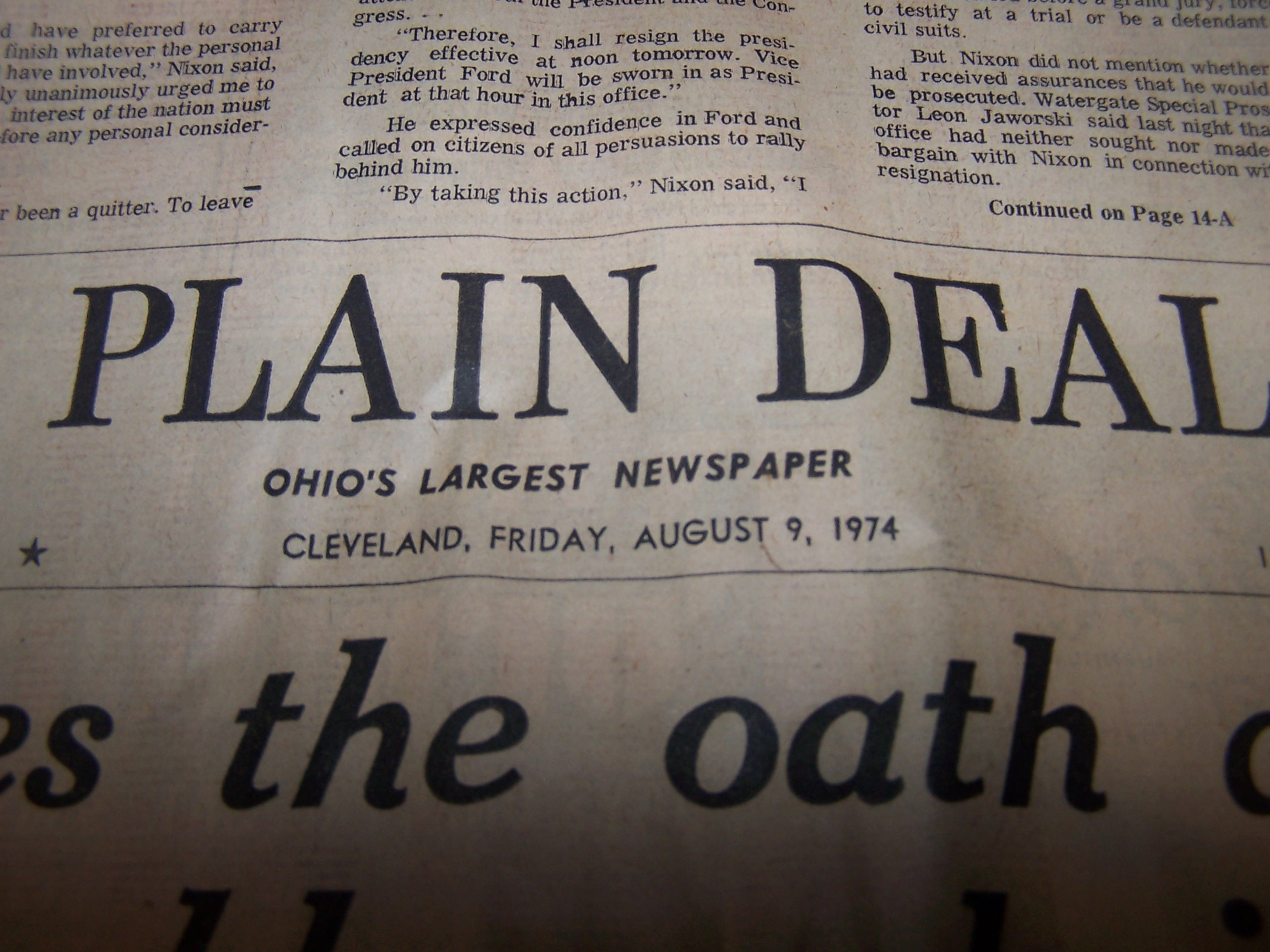 Image 2 of Nixon Resigns, Ford Takes Oath, 1974 Cleveland Plain Dealer