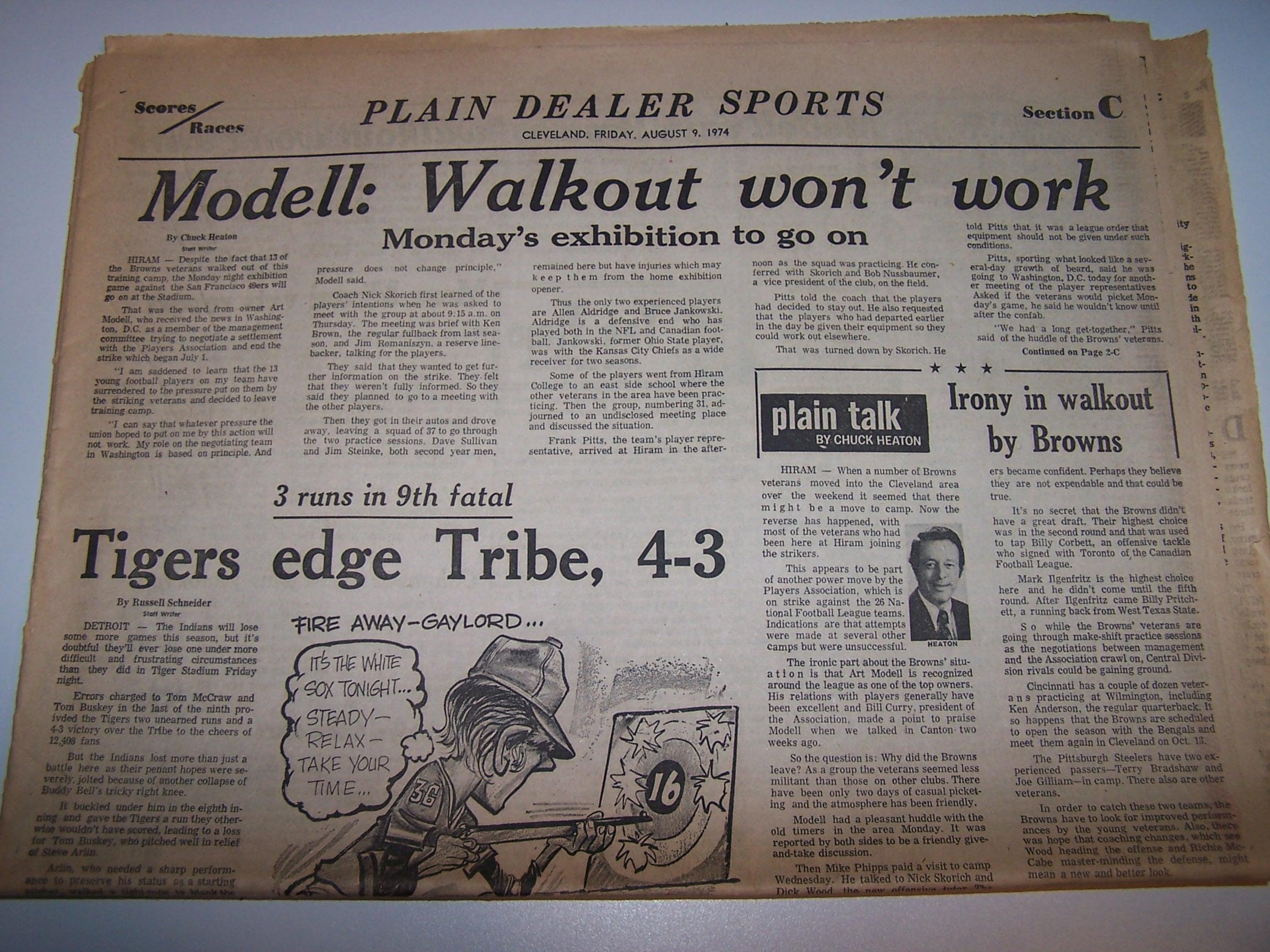 Cleveland Browns Football Team Walkout, 1974, Cleveland Plain Dealer