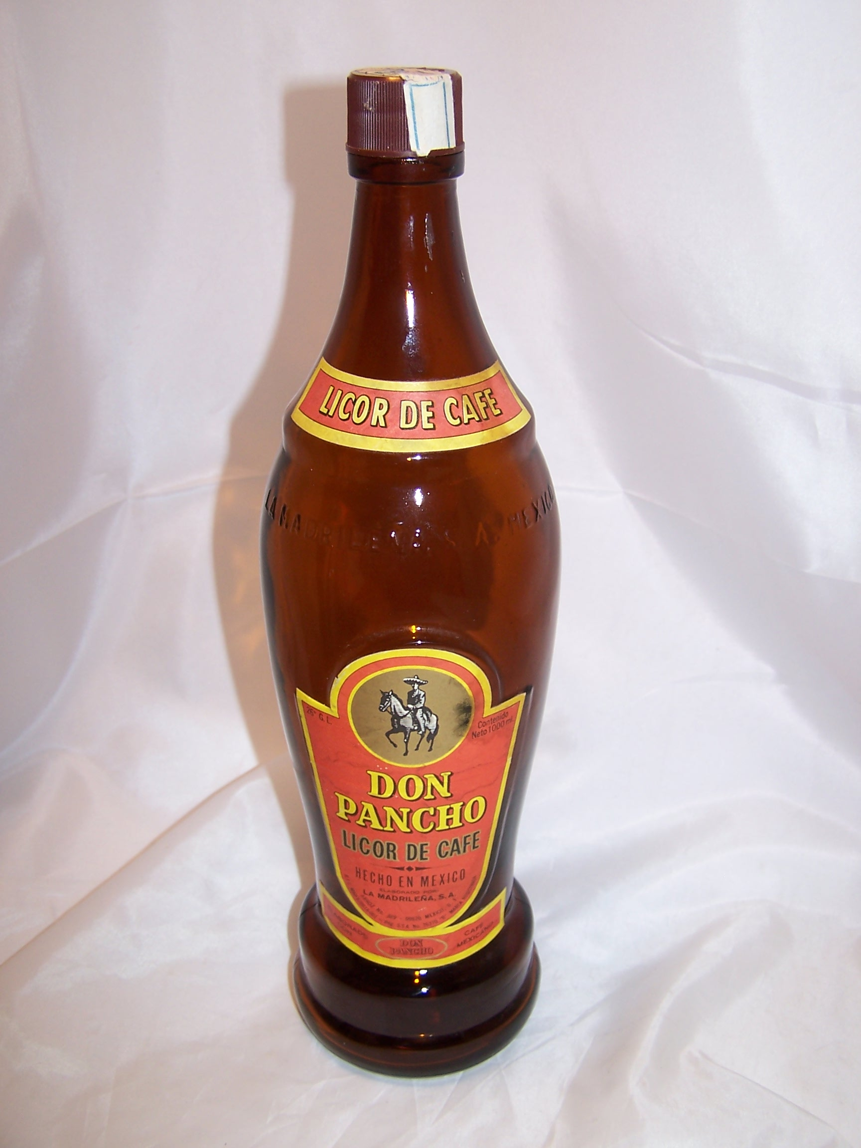 Don Pancho Licor de Cafe Brown Bottle, Mexico, Large, Empty