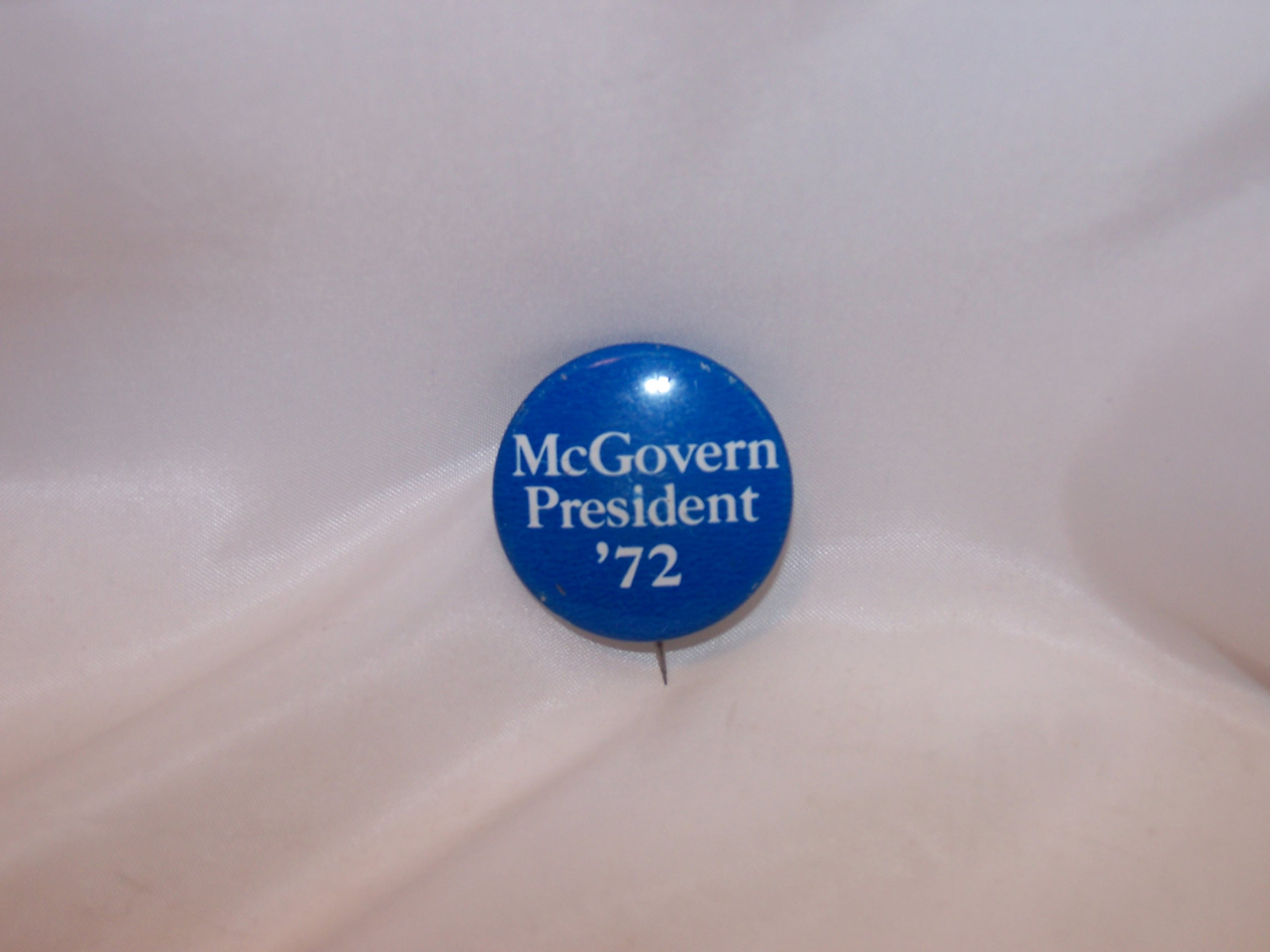 McGovern Blue, White Election Button, 1972, Original