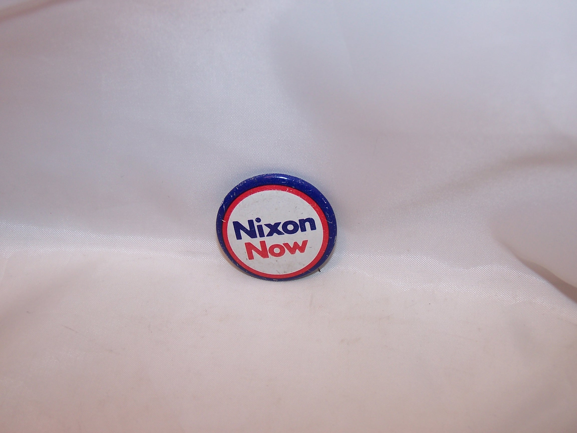 Nixon Now Election Pinback Button, Red, White and Blue