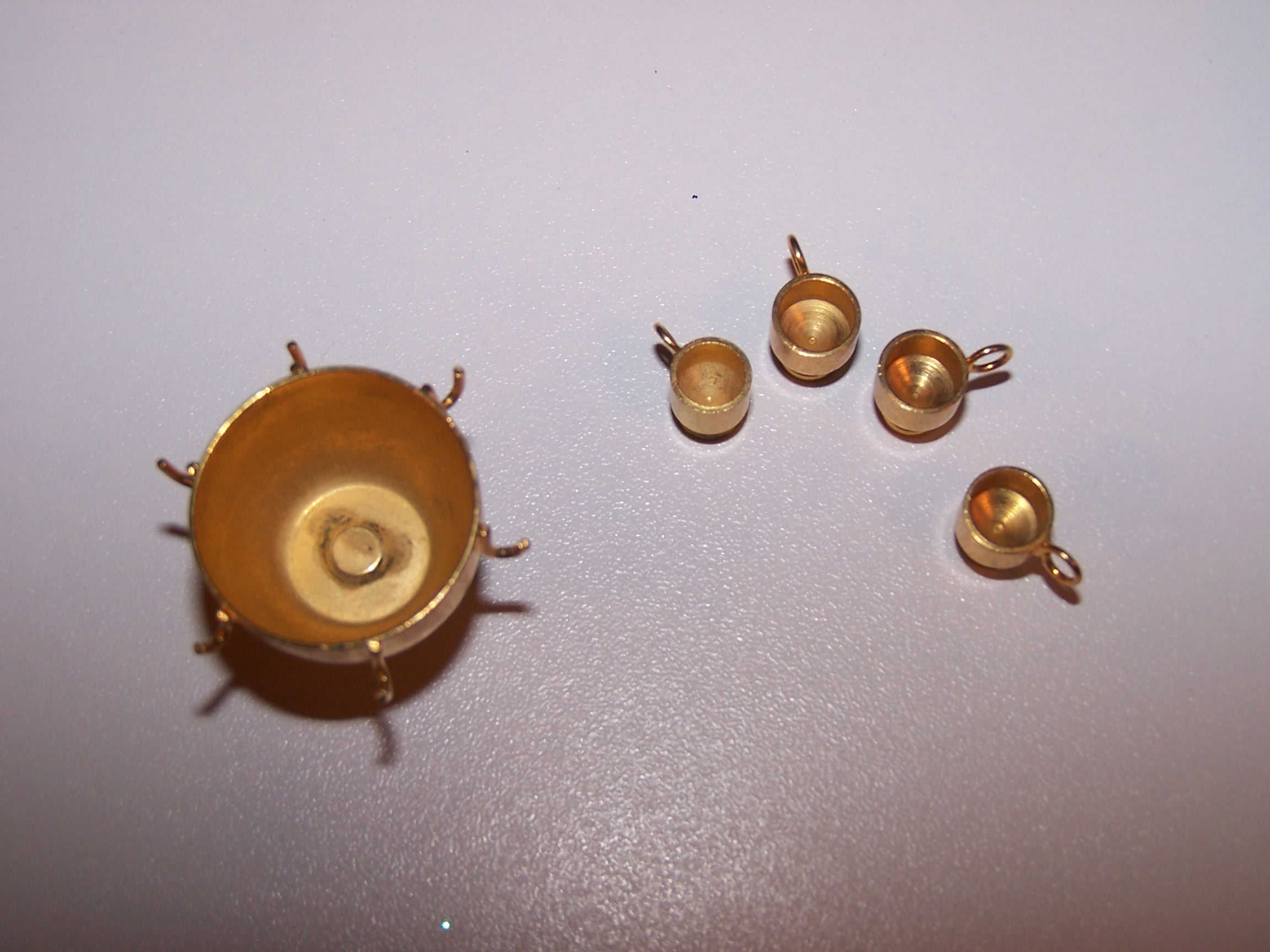 Image 1 of Dollhouse Brass Punch Bowl w Cups, Miniature