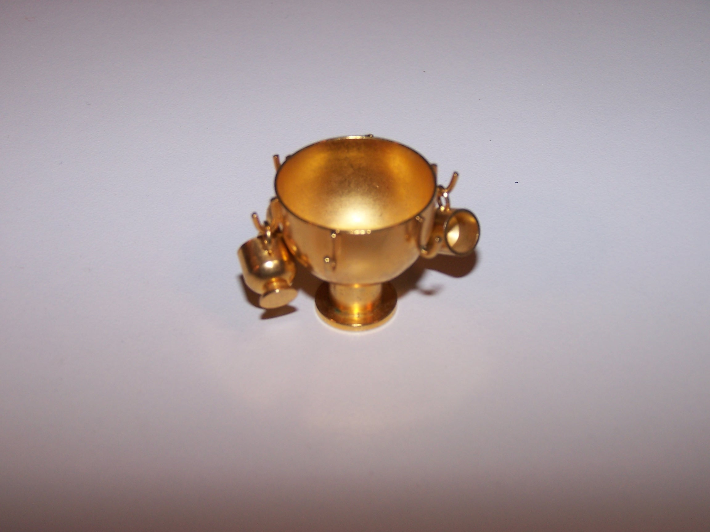 Image 3 of Dollhouse Brass Punch Bowl w Cups, Miniature