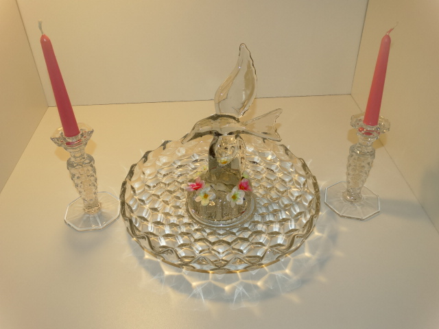 Image 1 of Fostoria Lily Pond Candlesticks Cambridge Seagull Flower Frog