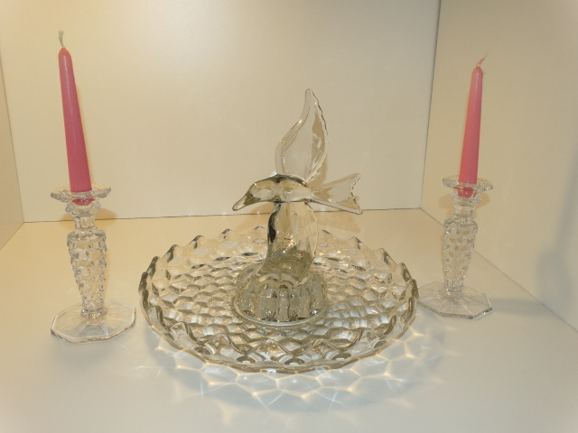 Image 16 of Fostoria Lily Pond Candlesticks Cambridge Seagull Flower Frog