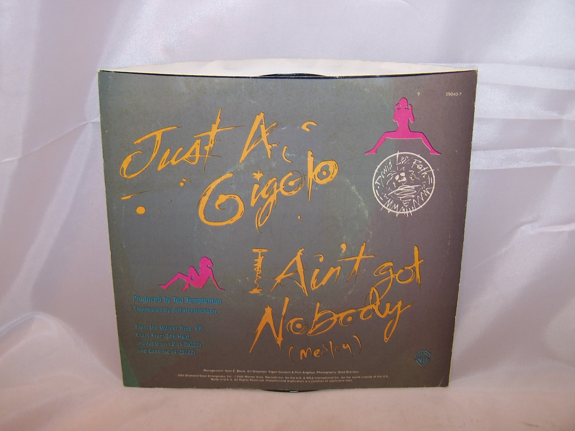 Image 3 of David Lee Roth, Just a Gigolo, 45 RPM Record, 1985