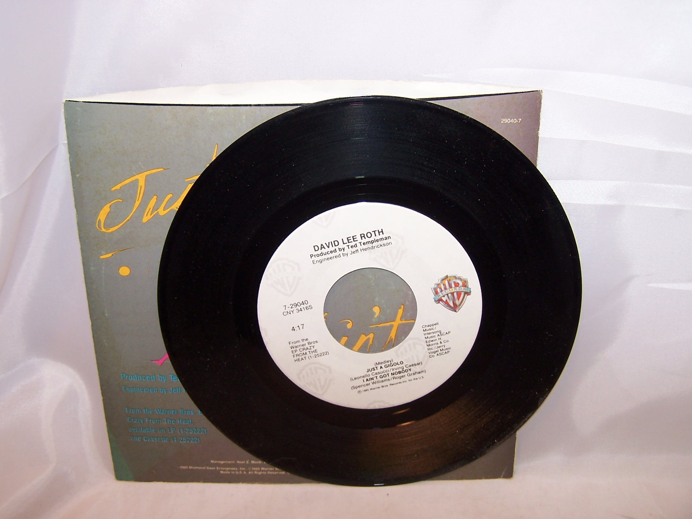 Image 1 of David Lee Roth, Just a Gigolo, 45 RPM Record, 1985