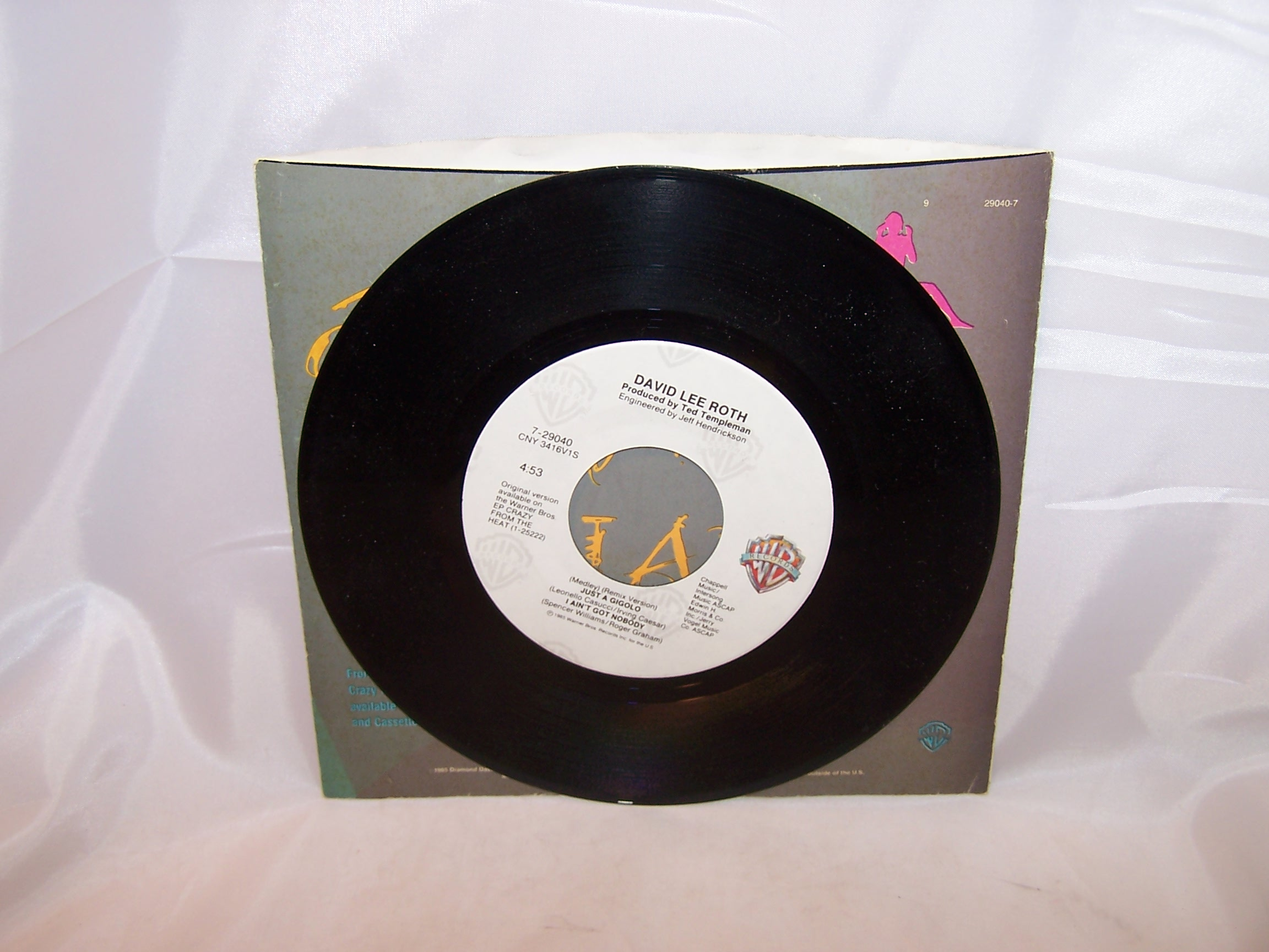 Image 2 of David Lee Roth, Just a Gigolo, 45 RPM Record, 1985