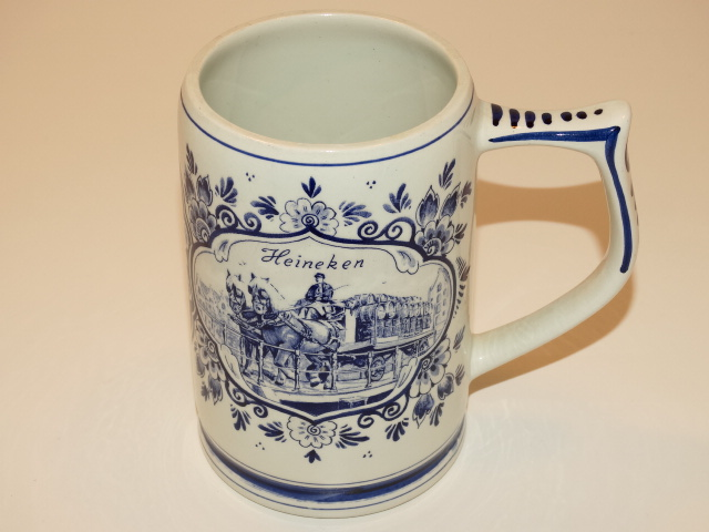 Heineken Delft Blue Beer Stein, Holland, Hand Painted Ceramic