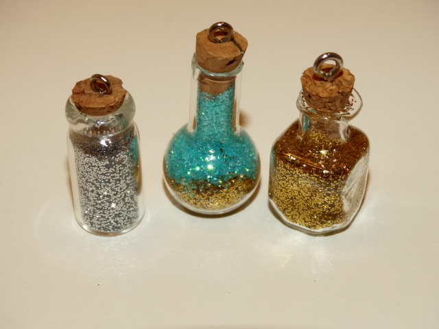 Fairy Dust in Three Shaped Bottles, Pink, Gold, Green and White