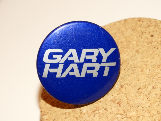 Gary Hart Election Pinback Button, Silver and Blue