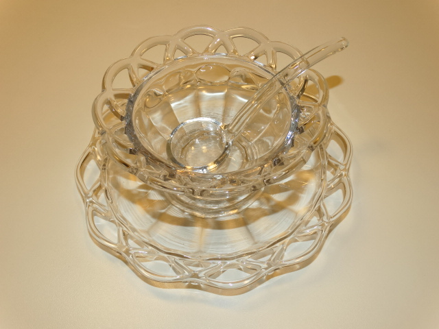 Image 1 of Imperial Glass Crocheted Crystal Bowl, Saucer, Ladle