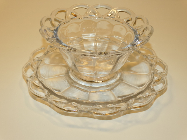 Image 12 of Imperial Glass Crocheted Crystal Bowl, Saucer, Ladle