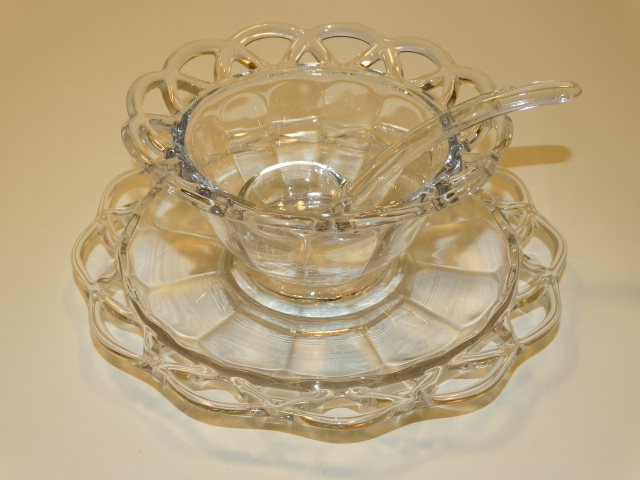 Image 13 of Imperial Glass Crocheted Crystal Bowl, Saucer, Ladle