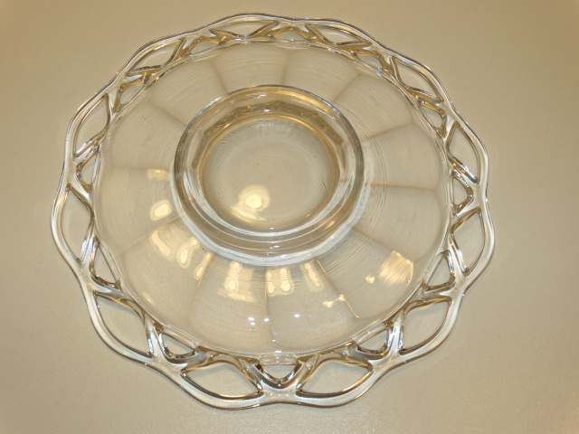 Image 4 of Imperial Glass Crocheted Crystal Bowl, Saucer, Ladle