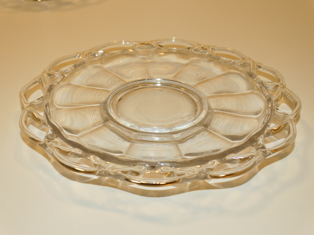 Image 3 of Imperial Glass Crocheted Crystal Bowl, Saucer, Ladle