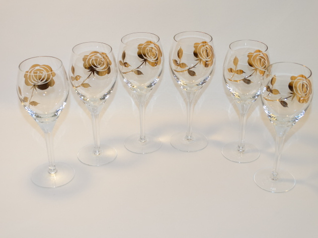 Image 10 of Decanter w Six Glasses, Crystal w Gold Roses