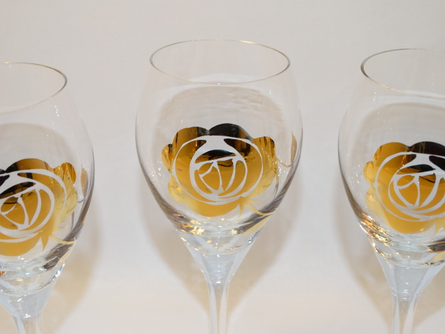 Image 11 of Decanter w Six Glasses, Crystal w Gold Roses