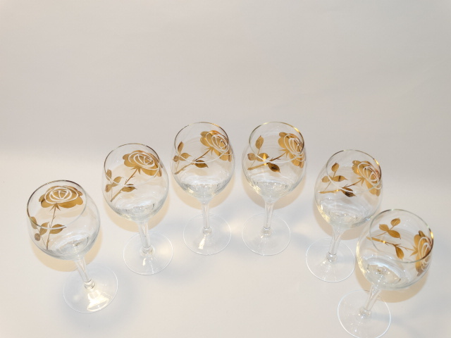 Image 12 of Decanter w Six Glasses, Crystal w Gold Roses