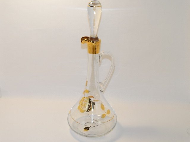 Image 1 of Decanter w Six Glasses, Crystal w Gold Roses