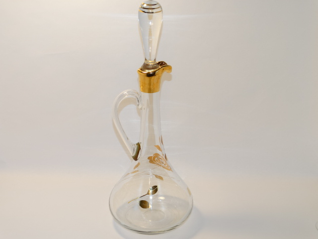 Image 3 of Decanter w Six Glasses, Crystal w Gold Roses